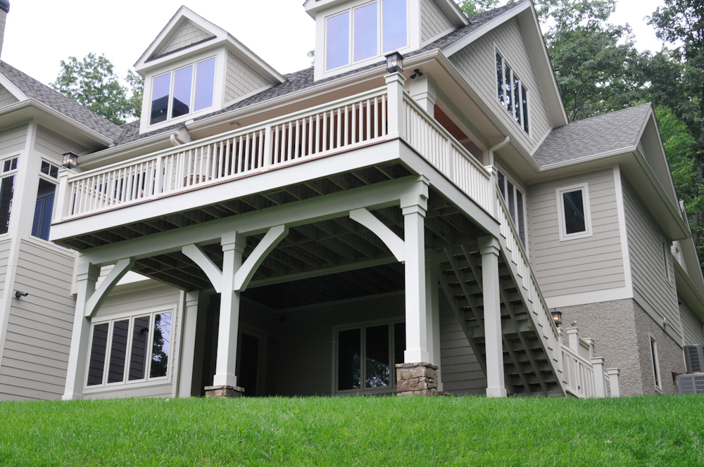 Haas Residence, Beautiful tigerwood deck that was built to flow seamlessly with existing house and trim details.