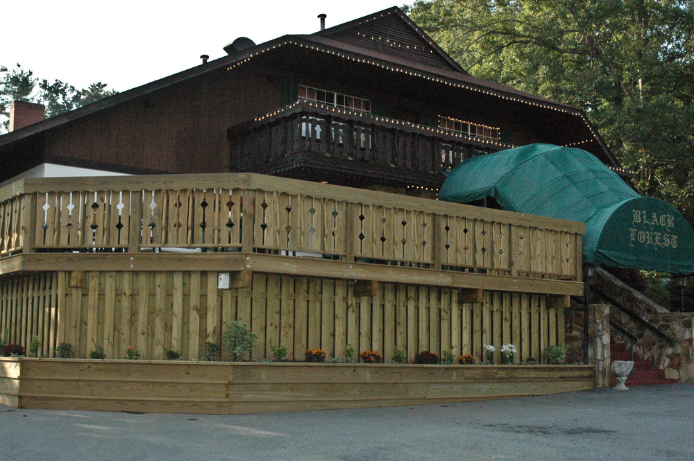 Black Forest Restaurant Asheville, Deck built to match existing details from original building.