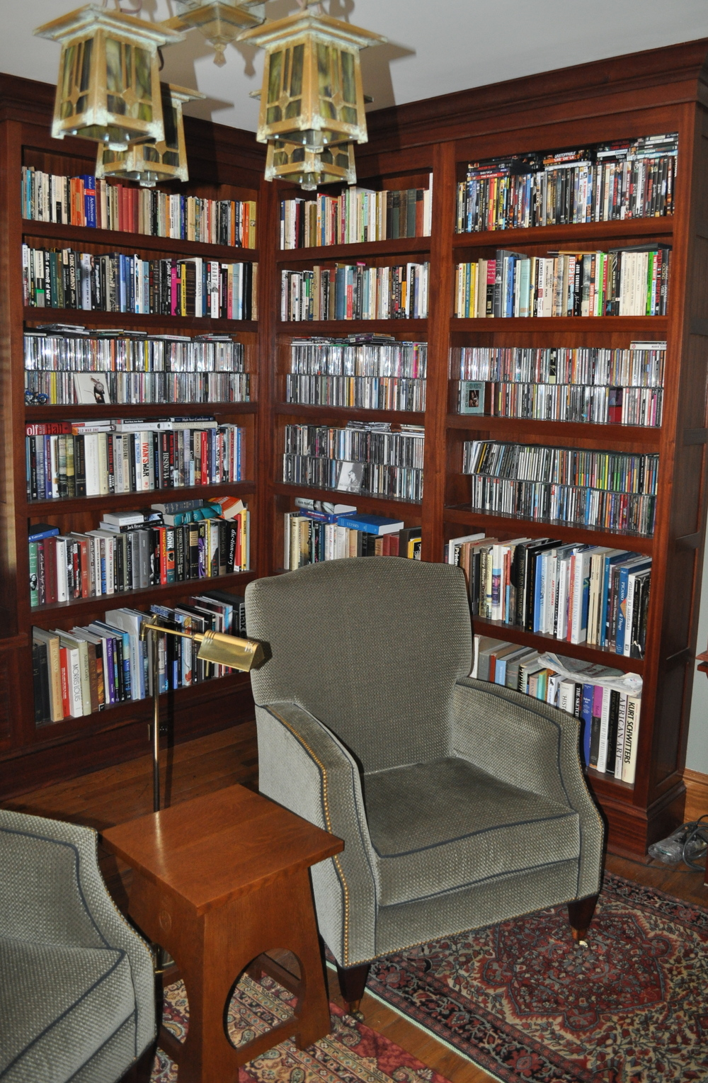 Sapele Bookshelves. Floor to ceiling bookshelves really look handsome in this library. All sapele construction.