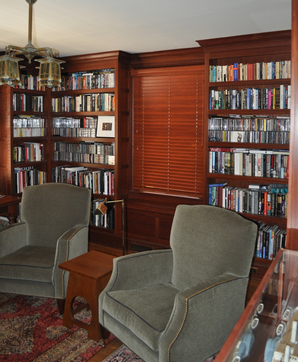 Sapele Bookshelves with Window Seat. All Sapele construction.