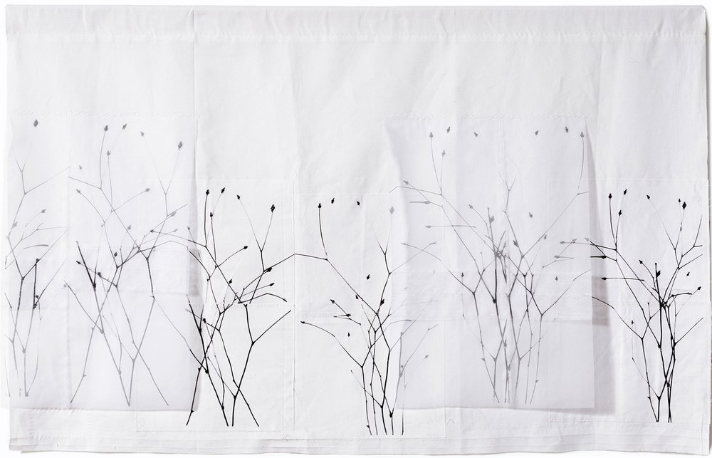"Winter Field , 46"" x 30"", vintage cotton, silk organza, digital print, stitching"