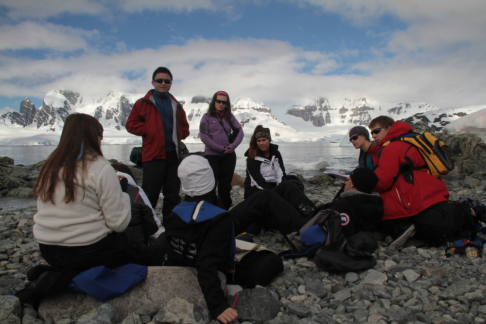 Teaching students about climate change on the Antarctic Peninsula with the organization Students on Ice.