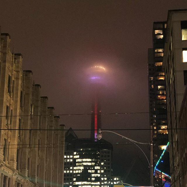 The CN Tower looks eery tonight.