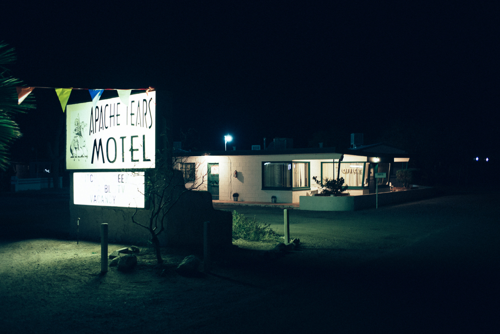 "Apache Tears Motel in Tucson, Arizona. As we drove around Tucson at midnight in search of a place to stay, this motel presented itself. However, it didn't seem very inviting. ""We can't stay here, it's gotta be fucked."""