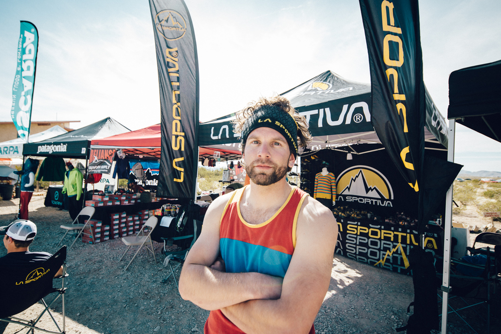 Quinn working at the La Sportiva booth during the 2015 Rock Rodeo.  Michael Lim Photography 2015 ©