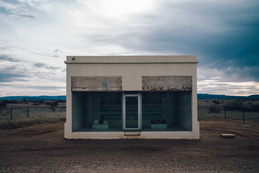 """Prada Marfa"" being restored due to vandalism over the Valentine's Day weekend. Michael Lim Photography 2015 ©"