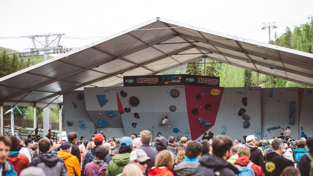 Men's & Women's World Cup Boulder Finals at the GoPro Mountain Games in Vail 2015.