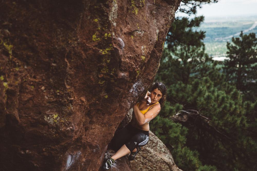 Hannah S. warming up at Flagstaff Mountain, Boulder, Colorado.