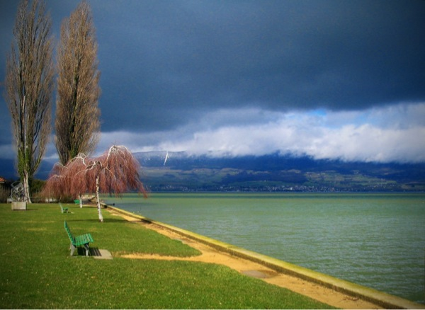 View of Lac-de-Neuchatel from Estavayer-le-Lac