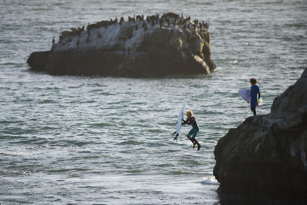 Jumping into Steamer Lane. Santa Cruz, CA 2014