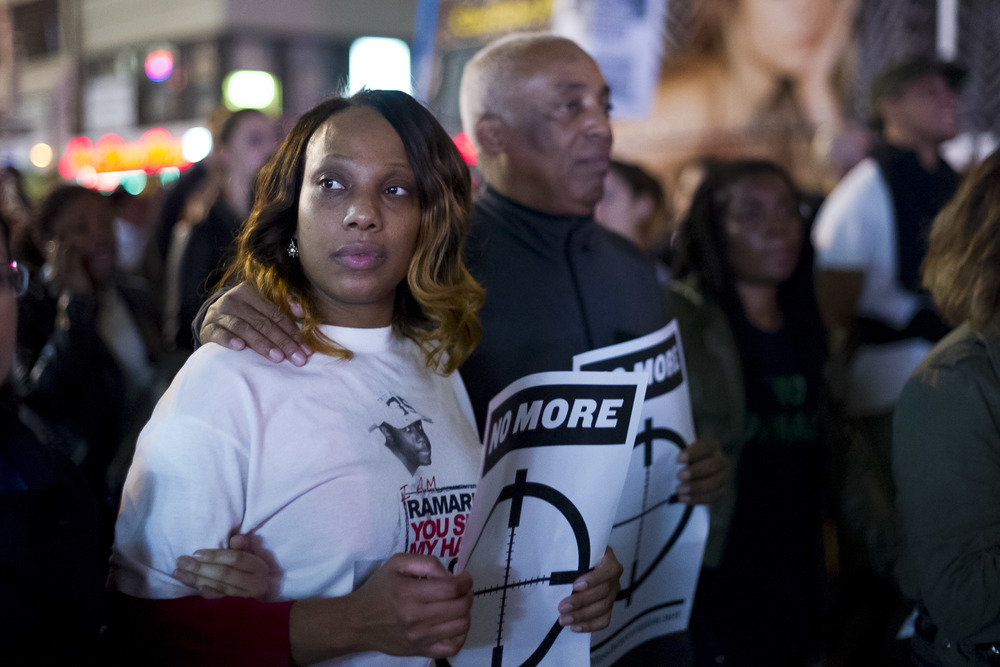 Constance Malcom, mother of slain teenager Ramarley Graham, marches with protestors through Manhattan. At larger events, special areas in the front of protests are occupied exclusively by family and friends of victims of Police violence.