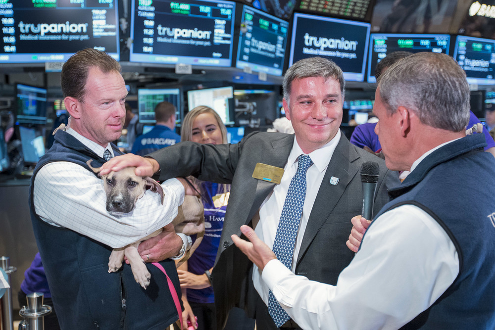 The CEO of a pet healthcare company participates in an interview on the trading floor during an IPO.