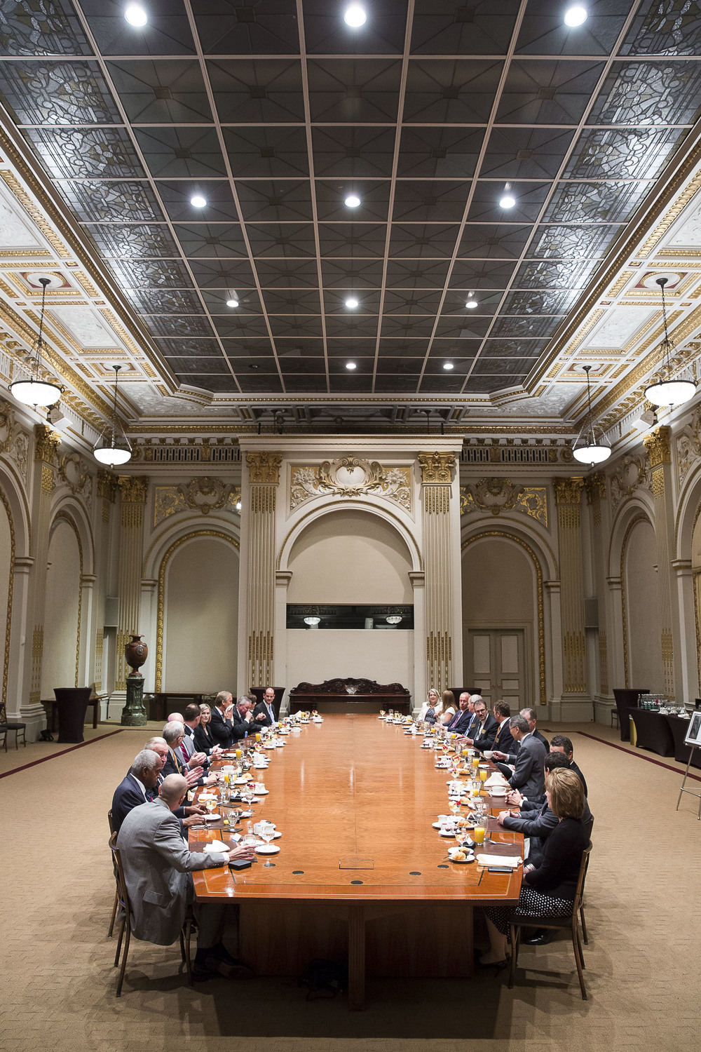 Historic Boardroom. The executive staff of the Exchange has not been large enough to fill the room for years, so it is used primarily as an event space for visiting companies. Exxon, for instance, has hosted annual investors meetings here. The Tiffany glass ceiling, originally open to the sky, was sealed from the top in response to terrorist attacks at the turn of the 20th century.