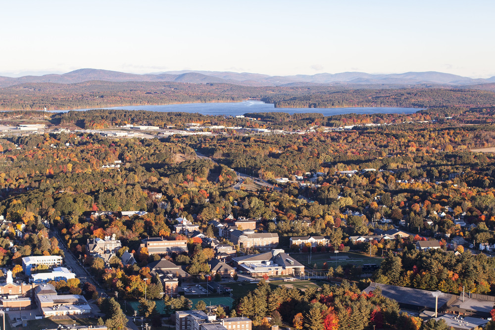 An aerial view of campus and greater Androscoggin County.