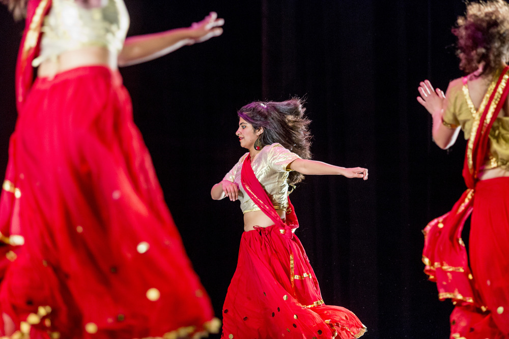 Samreen Fatima '16 of Karachi, Pakistan plays her part in the Bollywood Dance to cap off Sangai Asia Night at the Schaeffer Theatre.