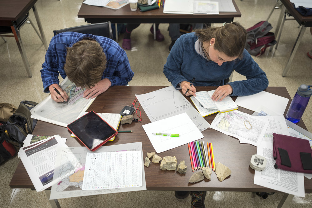 "Students enrolled in the Short Term course offering ""Geology of the Northern Rockies and Columbia Plateau"" finish their geologic mapping project at the University of Montana Western in Dillon, Montana."
