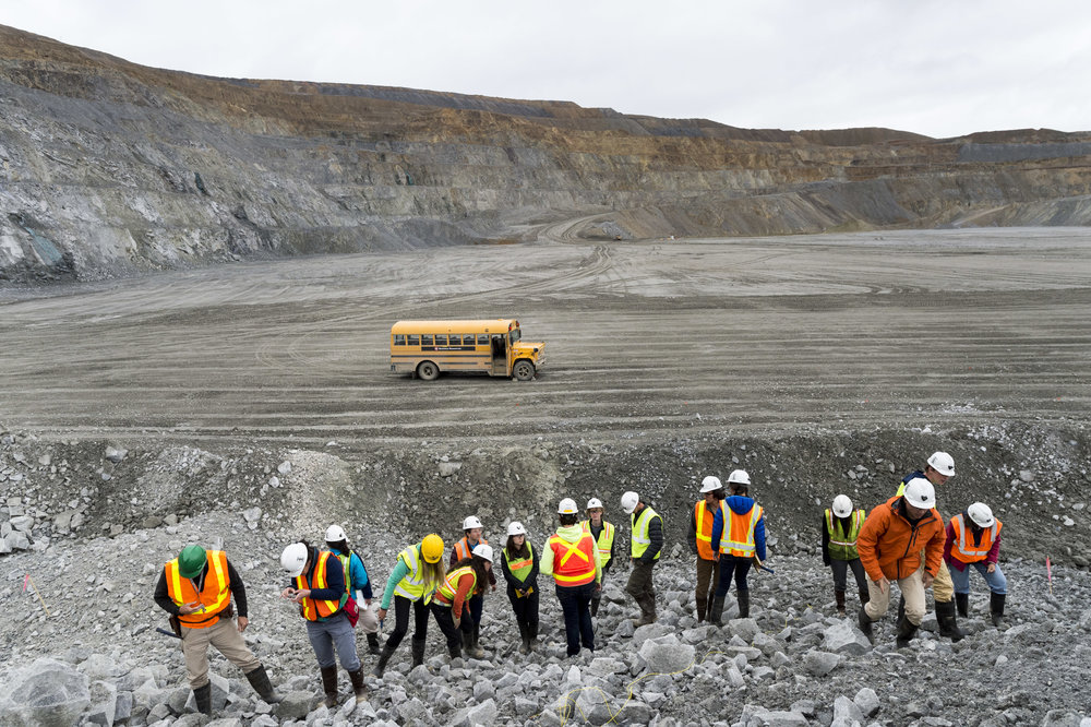 Students tour the Montana Resources Continental mine, an open pit copper mine and the only remaining mine in operation in Butte.