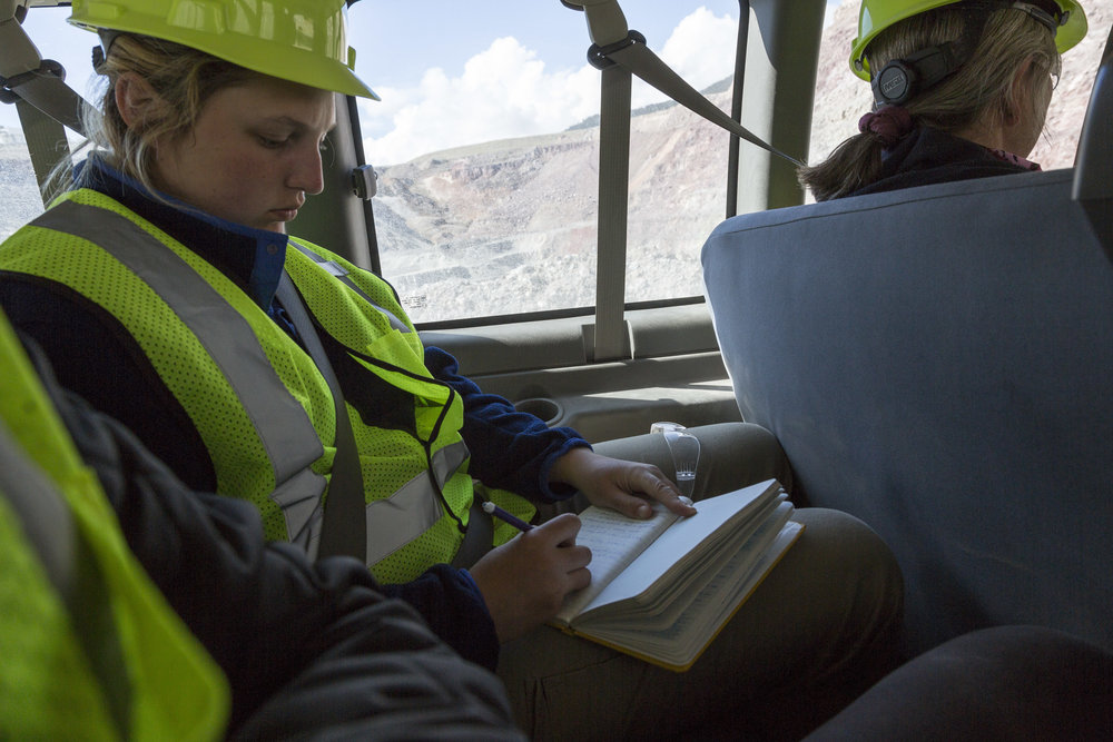 Sarah Stanley '16 takes notes in-between stops of the Imerys Talc mine tour.