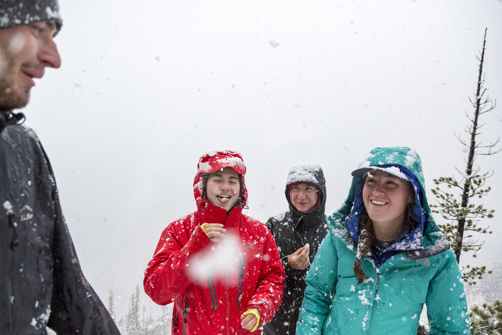 Students find themselves in the middle of a thunder-filled snowstorm at the Grand Canyon of Yellowstone.