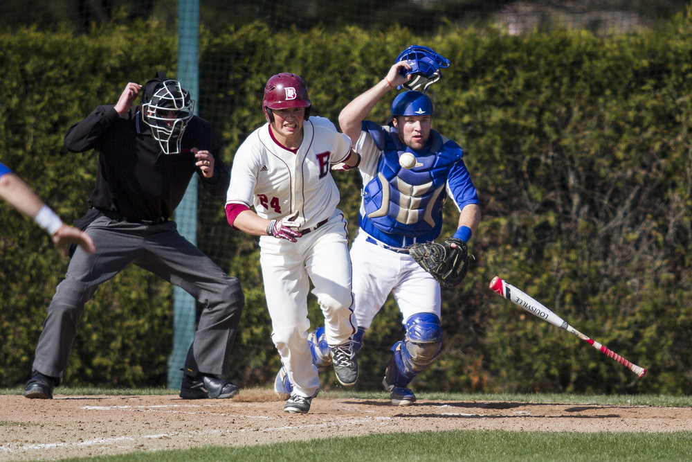 Jake Shapiro '18 lays down a bunt against visiting St. Joseph.