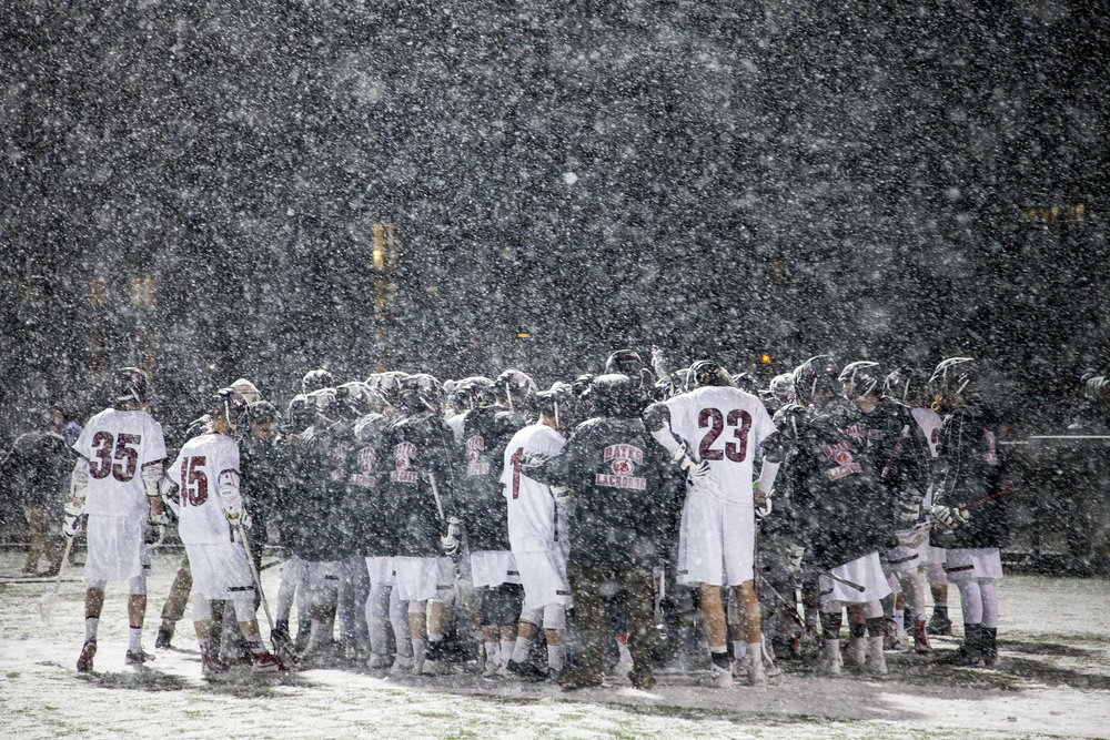 The Bobcats host Bowdoin in a late spring snowstorm on Wednesday, April 6, 2016.