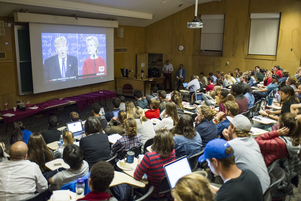 Students gather to watch the Presidential debate between Hillary Clinton and Donald Trump on September 26th, 2016.