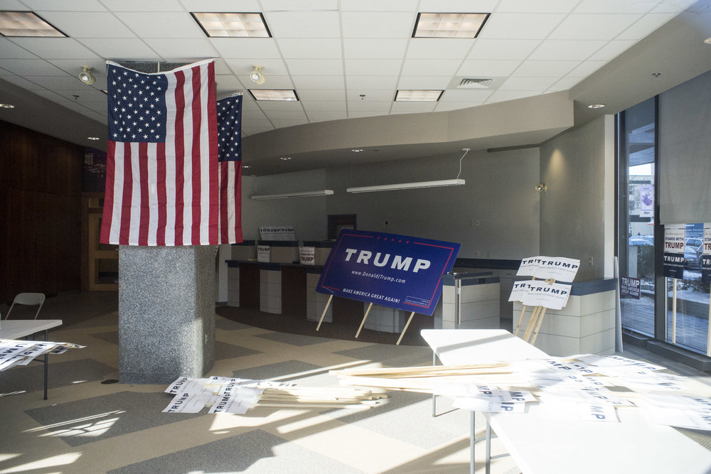 A  campaign office for Republican candidate Donald Trump sits mostly empty in downtown Manchester. Despite the lack of a traditional ground organization, Trump won the state easily.