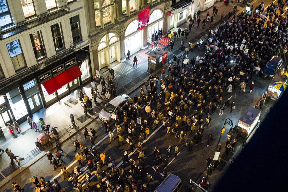 Protestors march through SoHo on December 13, 2014.