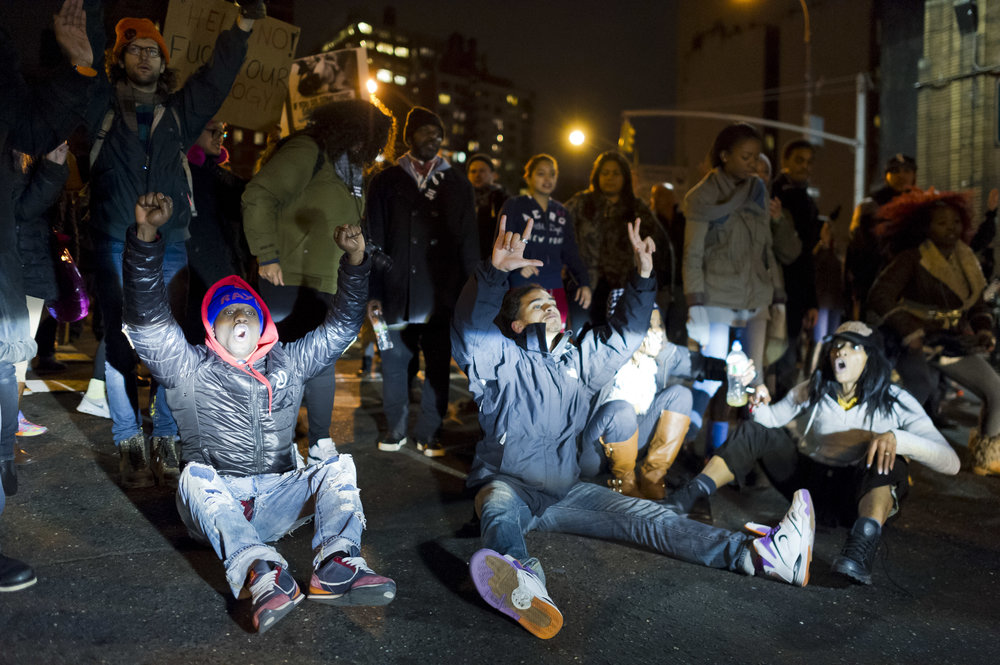 Demonstrators block the entrance the the Lincoln Tunnel on December 4th, 2014. Weeks of protest followed a Staten Island grand jury's decision on December 3rd 2014 not to indict Officer Daniel Pantaleo in the killing of Eric Garner.