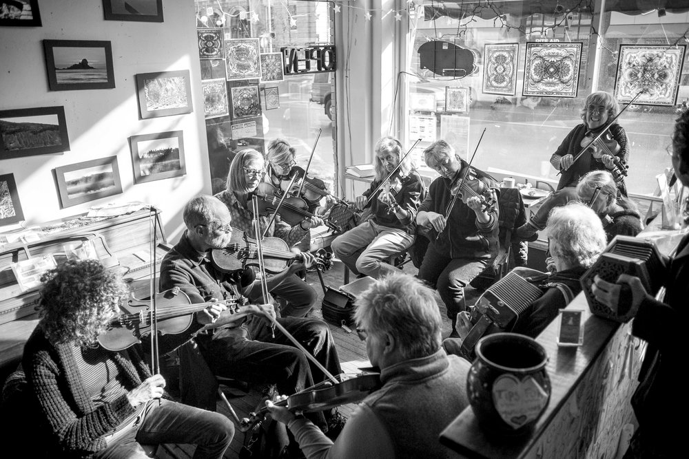 Local musicians gather for a Swedish Jam Session at Bagitos Cafe in Montpelier on Sunday, January 28th 2018.