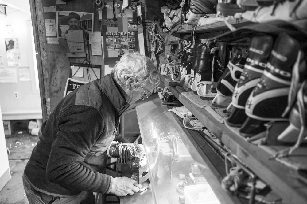 "Operations Manager John Townsend of Essex Junction sharpens ice skates at ""The Skatium"" in Waitsfield on Tuesday, December 26th 2018."