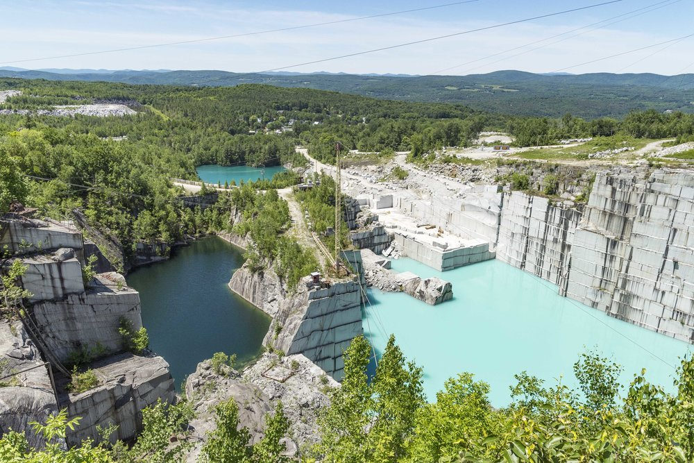 Different hues of blue and green are seen at the granite quarries in Graniteville on June 26th, 2018.