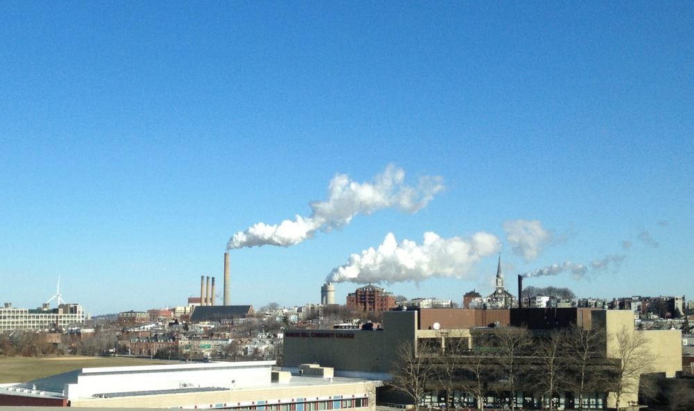 Units 7 - 9 generating power on a cold day as seen from I-93