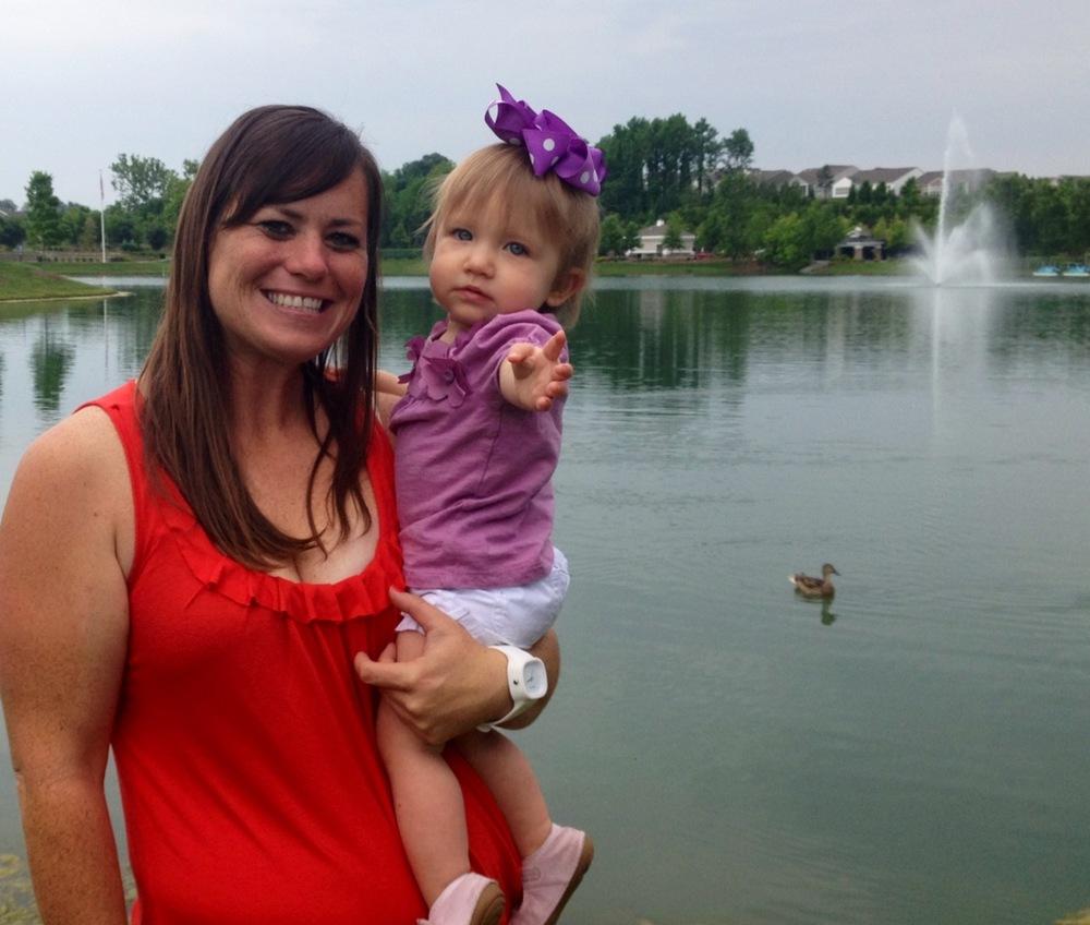 Mommy & #BabyMadison feeding the ducks