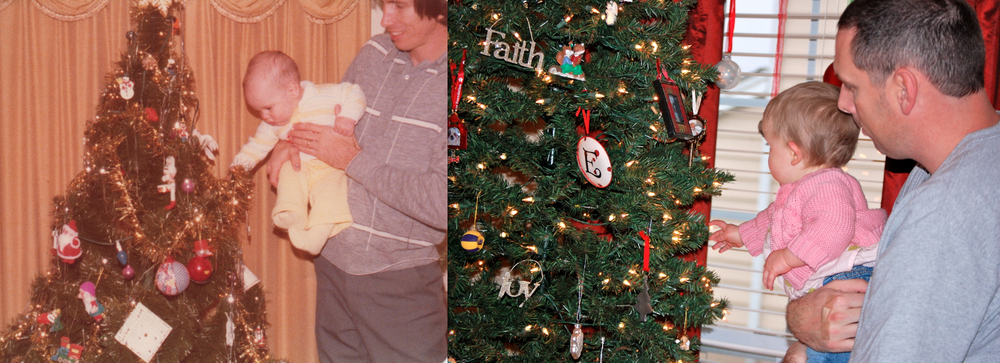 I found this picture of my dad holding me ... and then Emily took this pic of me holding Madison and I couldn't pass up the chance to show off the resemblance. The pic on the left is from my first Christmas ... I was 5 1/2 months old. On the right, I'm holding Madison and she is about 9 1/2 months old, and getting ready for her first Christmas!