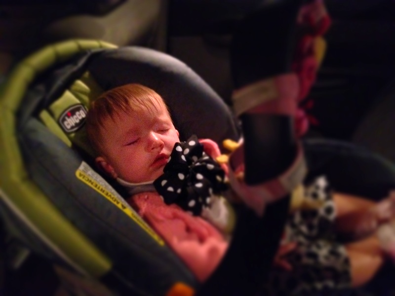 "Today Madison rode on the tractor trailer, saw her first tree cut down, sat on a cow for the first time, and pet a cow on the nose. Uncle Tim kept on saying ""we gonna make a country girl outta her!"" She was a star at the fish house...making everybody smile! On the way home she dozed off and this was our tired baby when we got back to grandmother's house. JE Sent from my iPhone"
