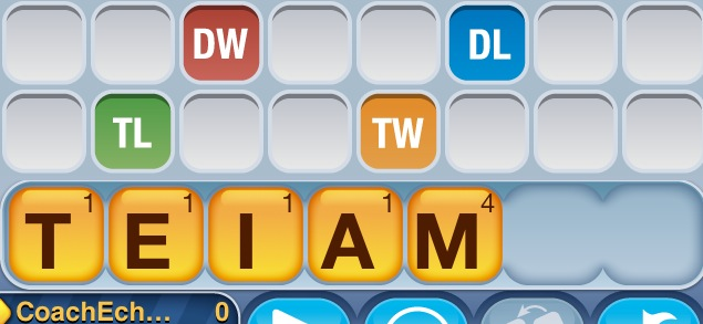 """I'm a little late to the party on playing 'words with friends' on the iPhone ... But this set of letters made me laugh out loud. Unfortunately the game doesn't recognize this spelling of team. Folks from CentriKid Camps this summer know that Blackboot puts an """"I"""" in team! JE Sent from my iPhone"""