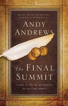 "Book Review: The Final Summit: A Quest to Find the One Principle That Will Save Humanity (Andy Andrews) Andy Andrews continues the story of David Ponder with this latest book.  I was not sure if I would be able to just jump in without reading the first David Ponder book ""The Traveler's Gift"" but within the first couple of chapters, events lead the main character to review and summarize the seven decisions for personal success that he learned in the first book.  I was able to catch up on the backstory and get an idea about the info from the first book without actually reading it.  Andrews does a wonderful job with the historical fiction conversations that happen between the different characters that span hundreds of years.  As in his previous book, there are several main characters (from King David (in the Bible) to Winston Churchill to Joan of Arc to George Washington Carver) who interact with David Ponder ... but unlike the first book, they are all together at the same table discussing the solution to finding the one principle that will save humanity. I'm a fan of history books, but have only read a couple of historical-fiction type of books.  Others that I've read have been purely historical fiction or sci-fi related ... this was the first that I've read that was centered on Christianity.  The conversations were obviously made up, but they were fun and based on the facts that are knwn about the historical figures.  The author did his homework in order to represent each character with authenticity.  The conversations centered on virtues exemplified by each new character who enters.  The only down-side to the early conversations was the predictable way that you knew they wouldn't have a successful solution to the problem at hand.  My favorite chapter was the chapter on Character when George Washington Carver was introduced.  There were several great quotes on the importance of a life lived with character, that I've saved to hang on to as good reminders for myself.  The over-arching theme that I took away from the book was that the circumstance doesn't make the man...it is character that makes the man.  Circumstances and historical context give opportunity for that character to show or to be tested ... but ""great"" men and women throughout history were not greater people than others.  Their circumstances merely revealed the character that was developing inside them. In all, this book was a fun read that introduced me to some new facts about some historical figures ... and also introduced me to a couple of historical figures I've never heard of.  The message is challenging and inspiring. I received this book free from Thomas Nelson Publishers as part of their BookSneeze.com <http://BookSneeze.com> book review bloggers program. I was not required to write a positive review. The opinions I have expressed are my own. I am disclosing this in accordance with the Federal Trade Commission's 16 CFR, Part 255 <http://www.access.gpo.gov/nara/cfr/waisidx_03/16cfr255_03.html> : ""Guides Concerning the Use of Endorsements and Testimonials in Advertising."""