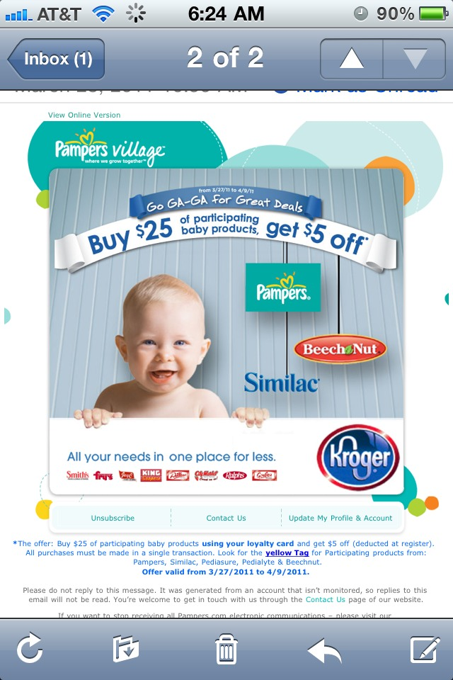 Great baby deals at Kroger and Publix