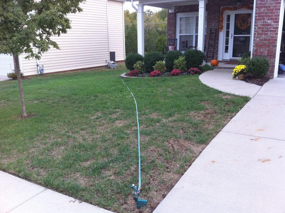 My Yard - after aerator and seeding on Oct 2, 2010
