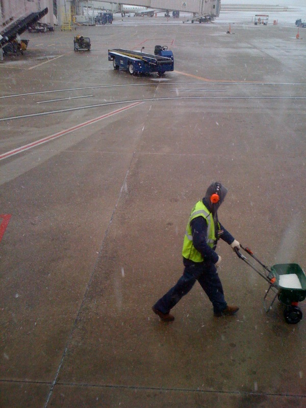This guy was outside my plane window, putting down stuff to keep the snow from freezing I guess. Pretty funny sight though. JE Sent from my iPhone