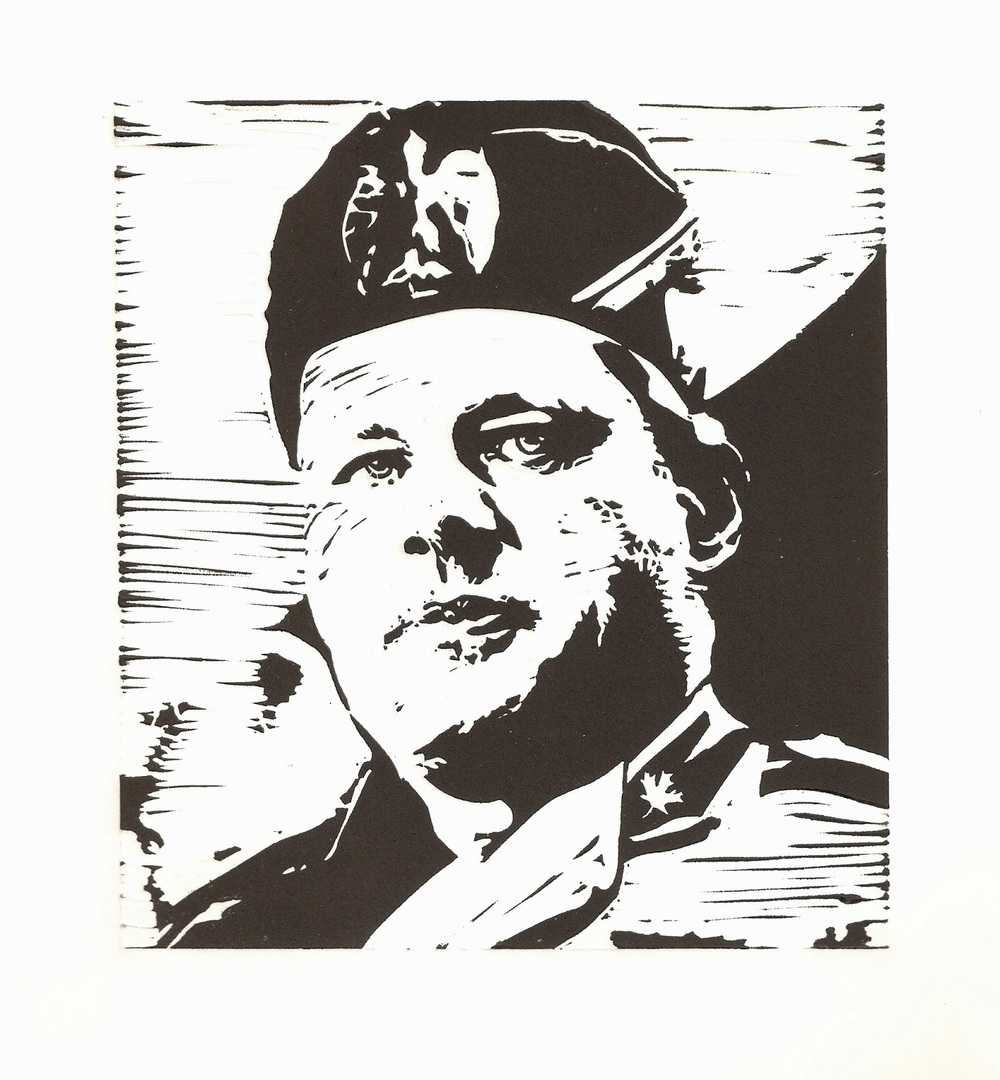 "'Crime Minister Harpolini' Peter Graham, linocut on paper, 6"" x 6.5"", edition of 25, 2013"