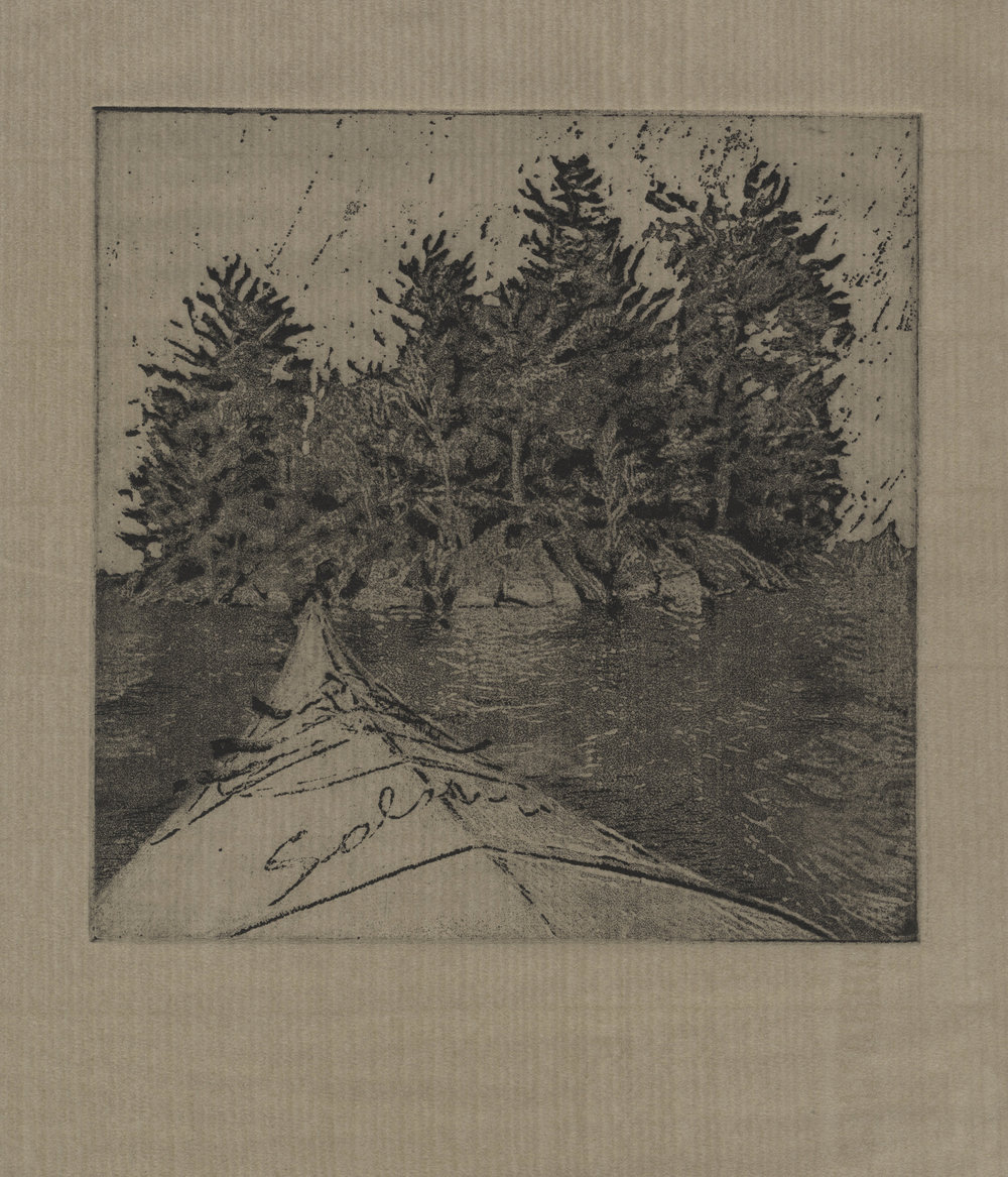 "'Picnic Island', Peter Graham, etching on paper, 8"" x 8"", edition of 20, 2016. $175"