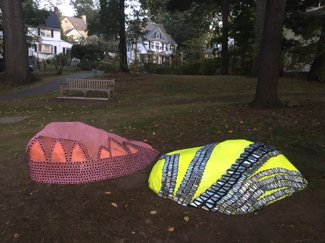 "Installation view at Wolf's Lane Park, Pelham, NY Left: TouchStone #14: For Wolf's Lane Park, 2017 Acrylic, beads, ethylene vinyl acetate, leather, silicone, mesh and metal, , 25"" x 72"" x 45"" Right: TouchStone #13, For Wolf's Lane Park, 2017 Acrylic, mirrored beads, silicone, mesh and metal, 18"" x 77"" x 46"""
