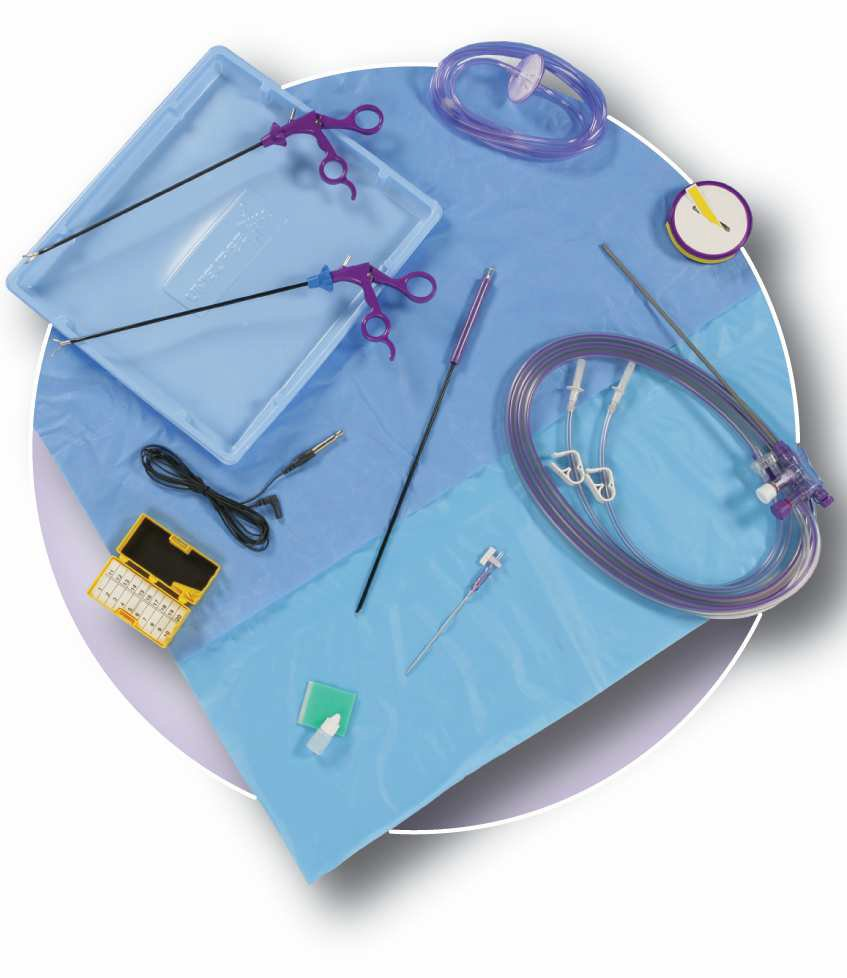 PS0521 Laparoscopic procedure kit-Intermediate   1 x Ultimate Standard length 33cm Monopolar Scissors  1 x Ultimate Standard length 33cm Maryland Dissecting  1 x Ultimate Dual spike, tubing, handpiece with instrument  1 x Insufflation Filter & Tubing Set with Luer Lok fitting  1 x Camera Sleeve  1 x Fog Free Solution  1 x Monopolar Electrodes 5mm L Hook  1 x 8mm Connector for Monopolar Cable  1 x Sharps Safety Station, magnet/foam block med  1 x Veress Needle 120mm