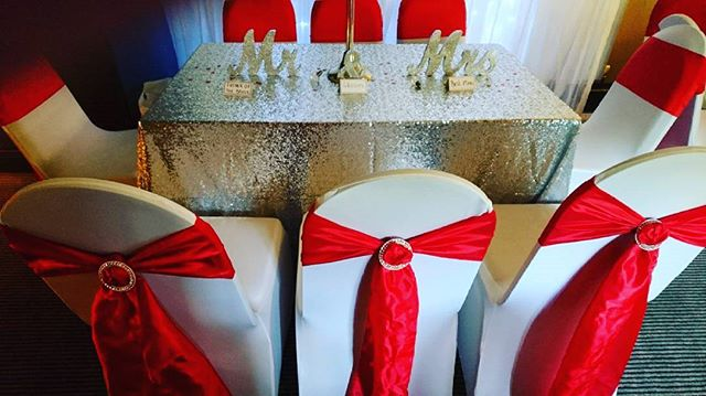 can't beat a bit of bling!!! #weddingbling #eventstyling #chaircovers #sequins #redandwhitewedding #venuedressing #getfunked 🌻