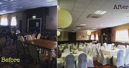 Unsure of the difference chair covers can make?? Have a gander at this!!! #chaircovers #venuedressing #roomtransformations #weddingday #getfunked 🌻