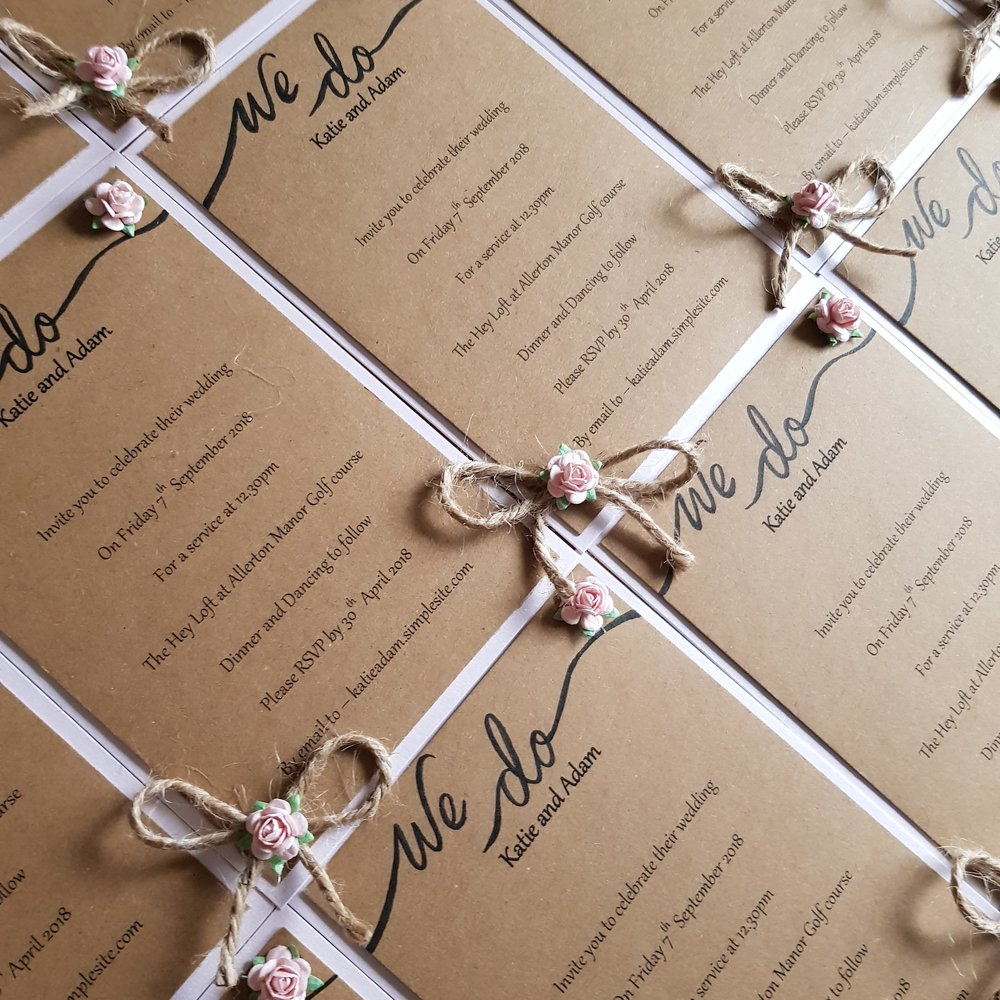 Stationery - Whether it's a one off bespoke card or a whole set of matching stationery from invites to table plans - Becky from Hartiescraft will ensure you get just what you want at an amazingly affordable price. Drop us a message by clicking here for your quote.