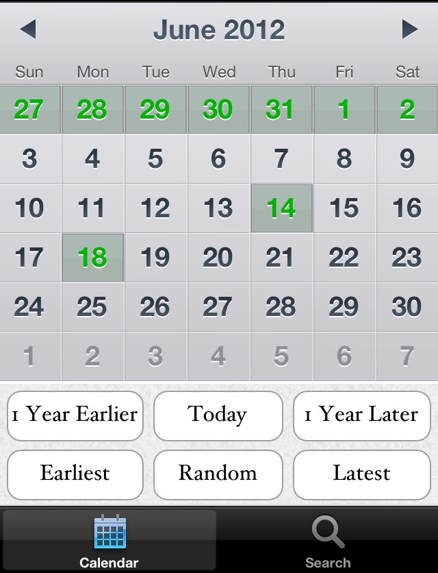 Remembary's calendar interface, where you can see at a glance which days have entries (green) and which don't (grey). The buttons at the bottom provide different ways of jumping around your diary. Click/tap to see in more detail.