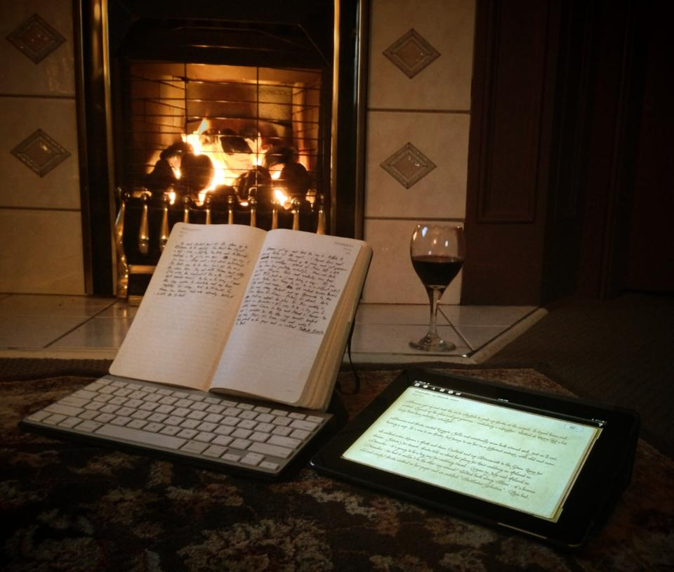 InCase Origami case as transcription stand. Victorian fireplace and Carmenère not included!